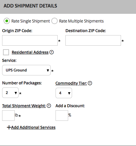 UPS provides a CWT rate tool to give you an idea of what you would pay based on origin, destination, weight, number of packages, type of UPS service and commodity tier.