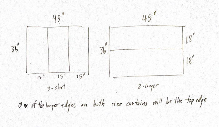 Drawing of curtailment layout. Two ways to cut fabric.