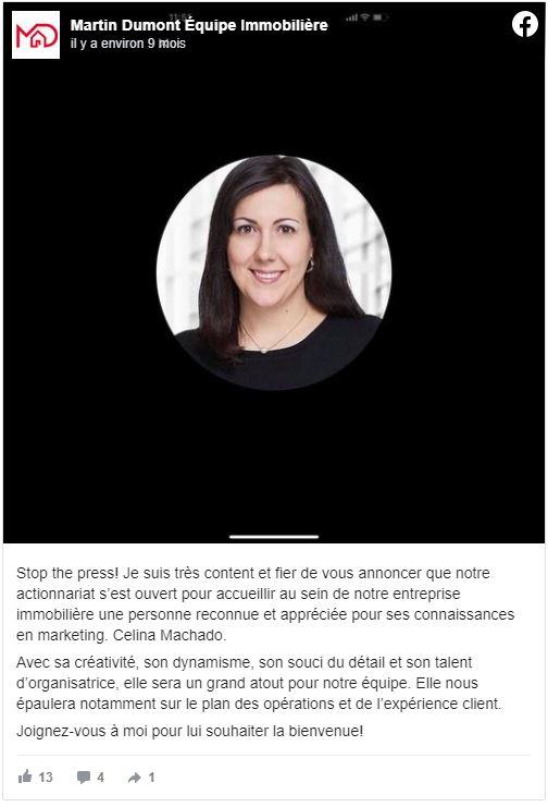 Celina Machado, Directrice marketing
