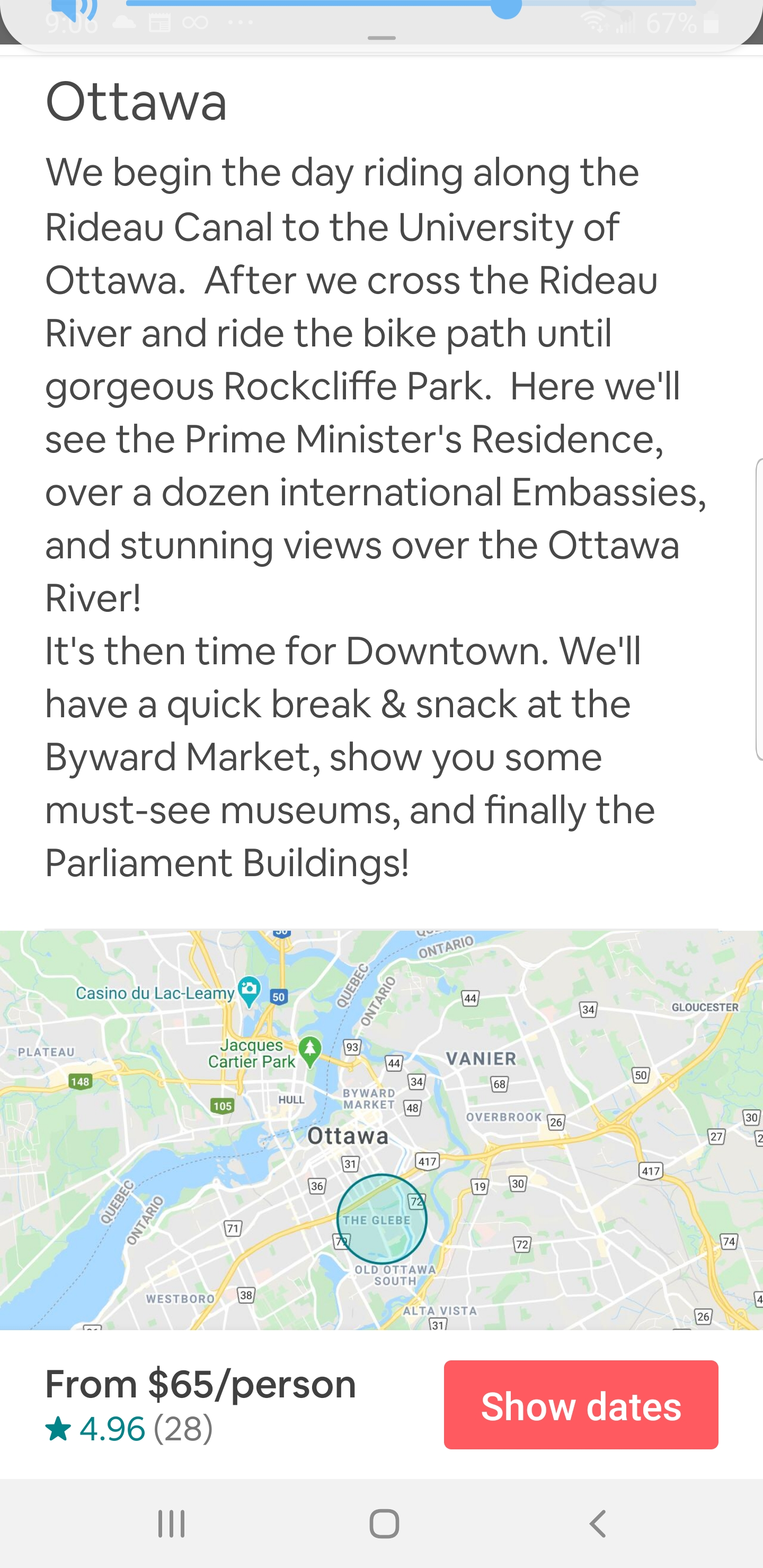 AirBNB - Cycle Tour Experience of Ottawa