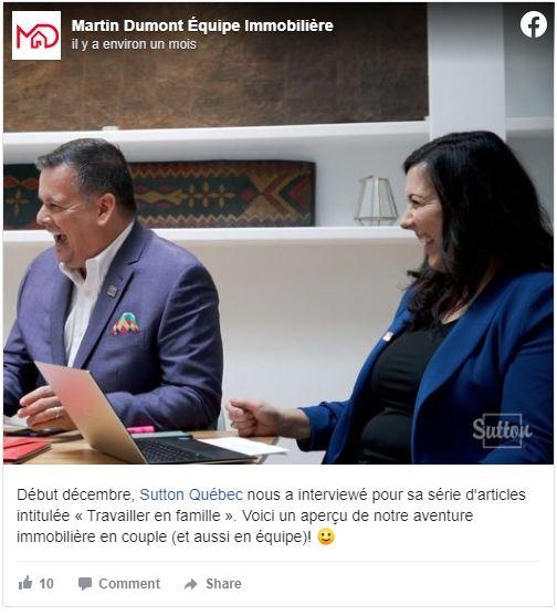 Entrevue Sutton Québec Celina et Martin