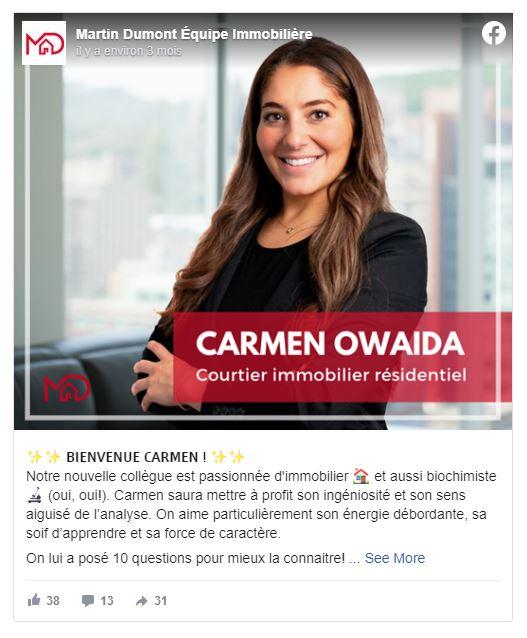 Carmen Owaida, Courtier immobilier résidentiel