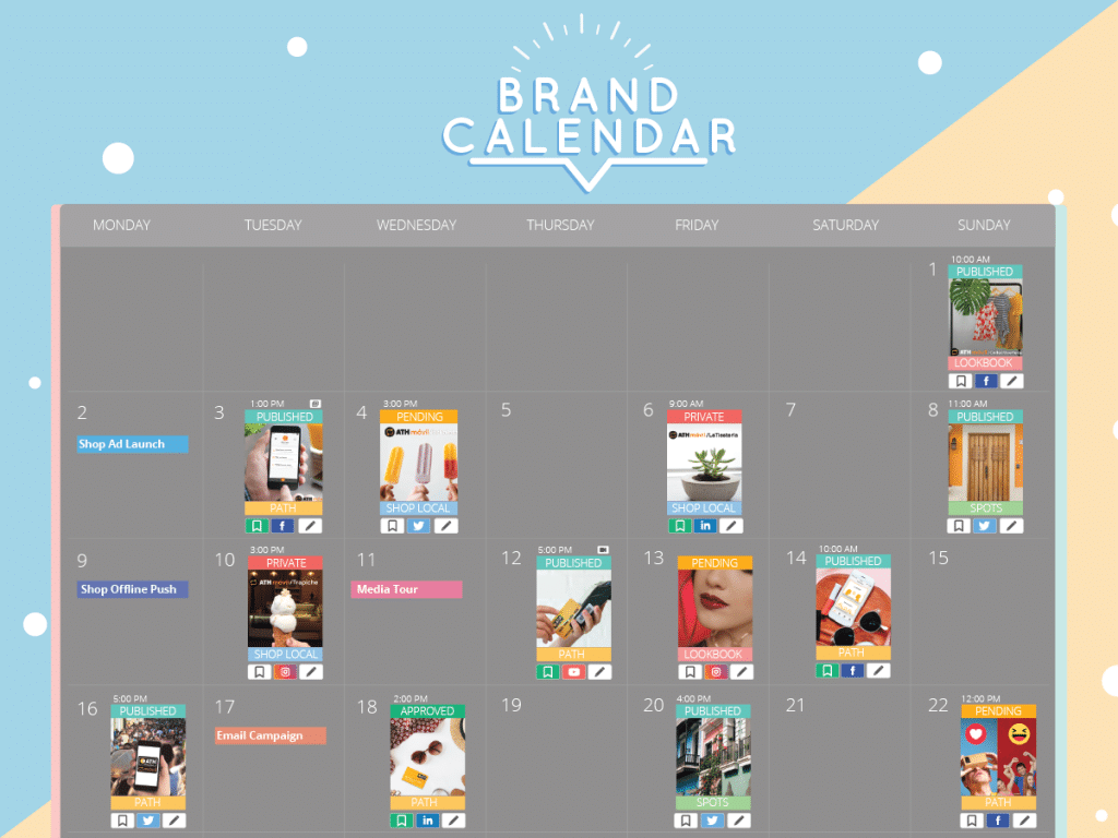 The Brand Calendar makes it seamless for everyone in the team to be on the same page in regards to the brand's content strategy.