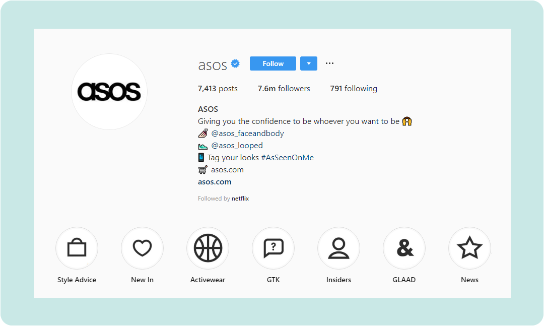 ASOS Instagram Profile