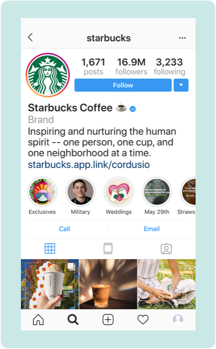 Starbucks Instagram Bio example