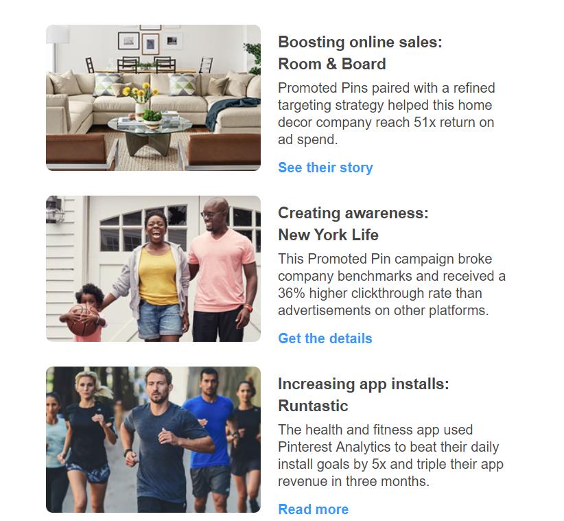 Pinterest email newsletter