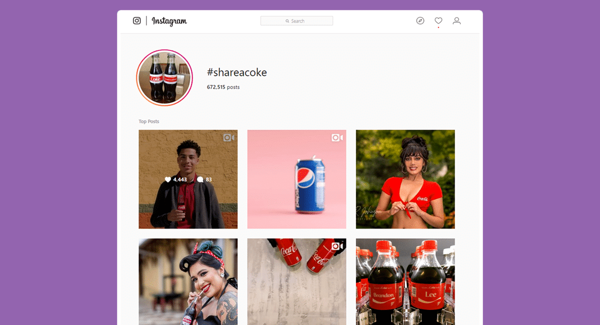 Coca Cola's #ShareACoke is good example of a popular campaign hashtag - Source: Instagram #ShareACoke