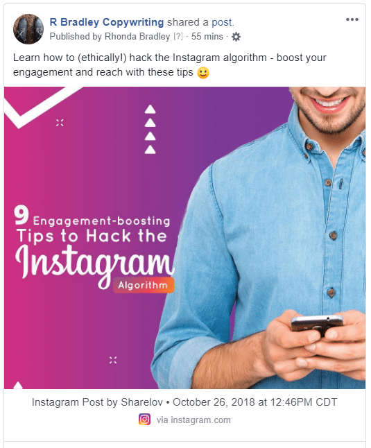 Reposting content from Instagram to Facebook is easy