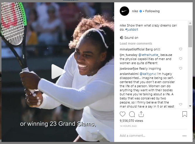 "Nike supports women's equality with its ""Show them what crazy dreams can do"" campaign."