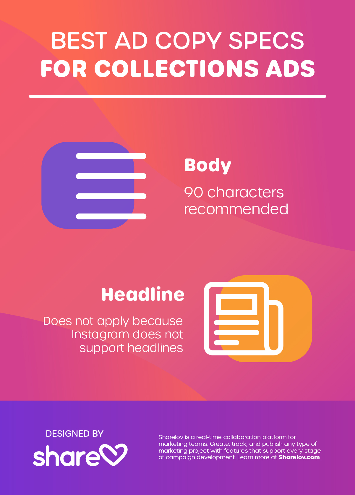 Best Ad Copy Specs for Collections Ads infographic