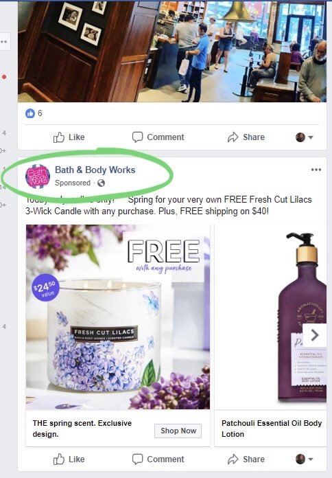 facebook feed ad example 2