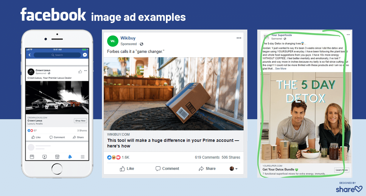 Examples of Facebook Feed image ads on mobile and desktop.
