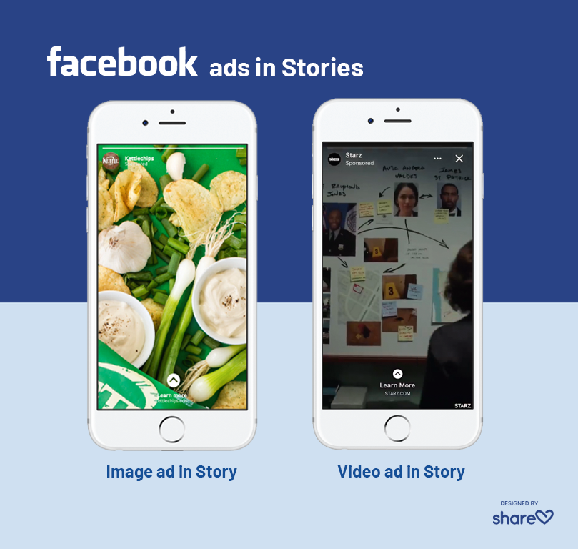 Examples of image and video ads in Facebook Stories