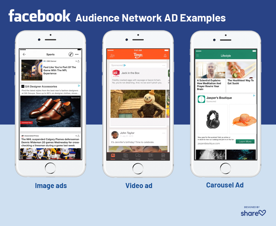 Examples of Facebook Audience Network ads in image, video, and carousel formats