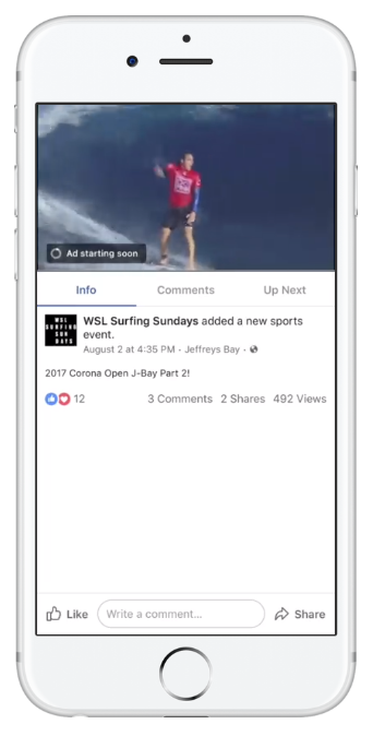 Facebook in stream video ad