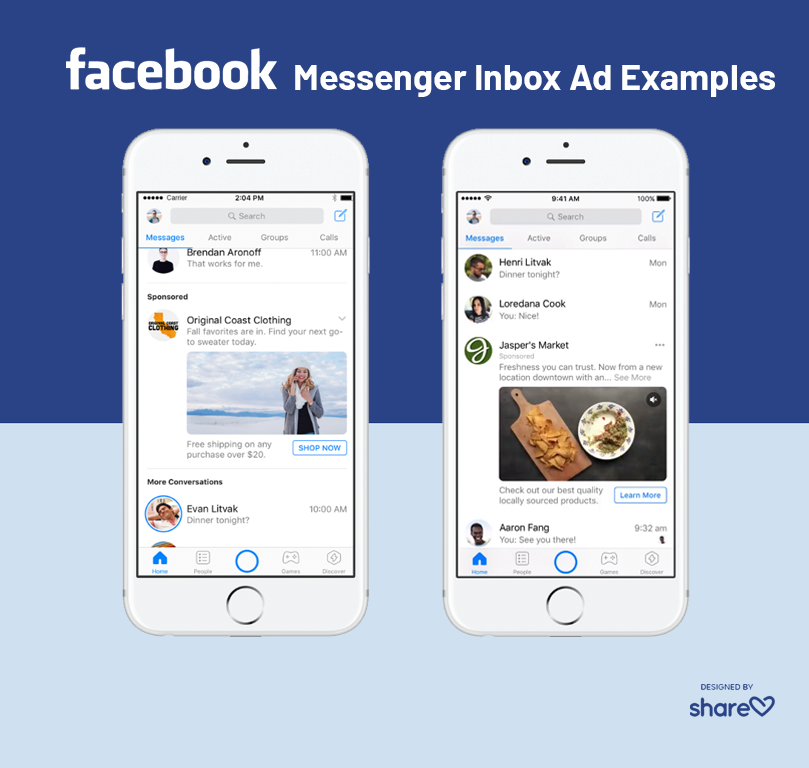 Examples of Facebook Messenger Inbox ads