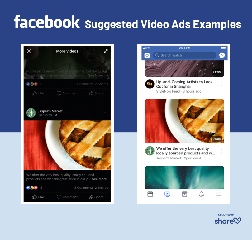 Examples of suggested video ads on Facebook