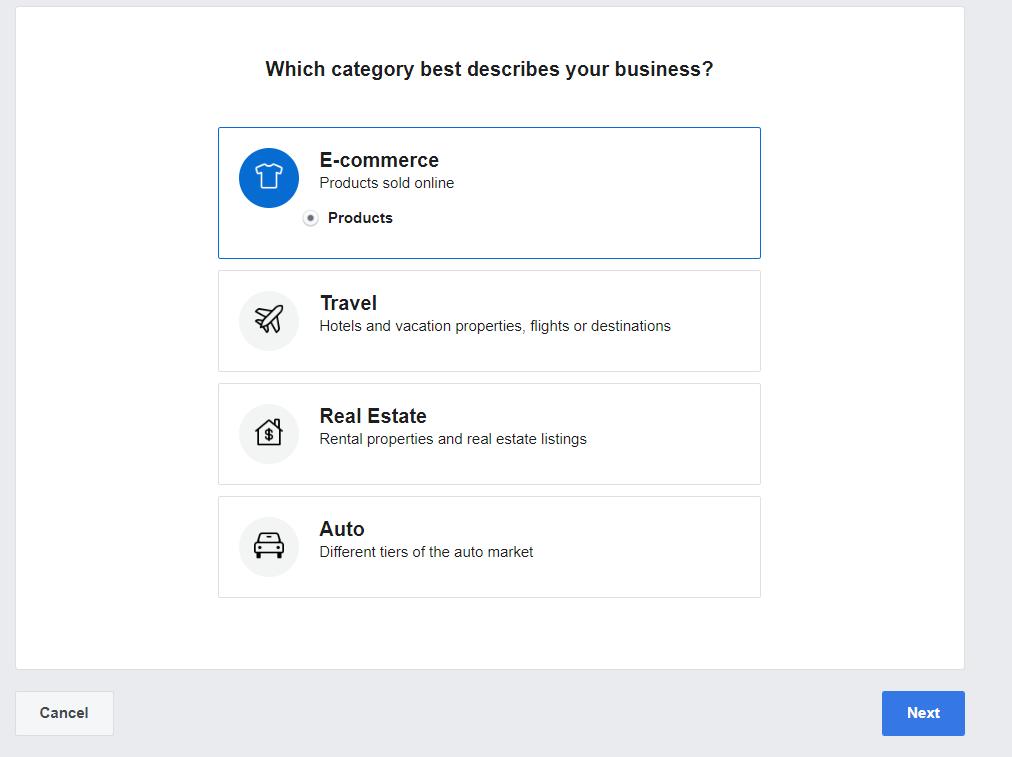Facebook Catalog setup step two