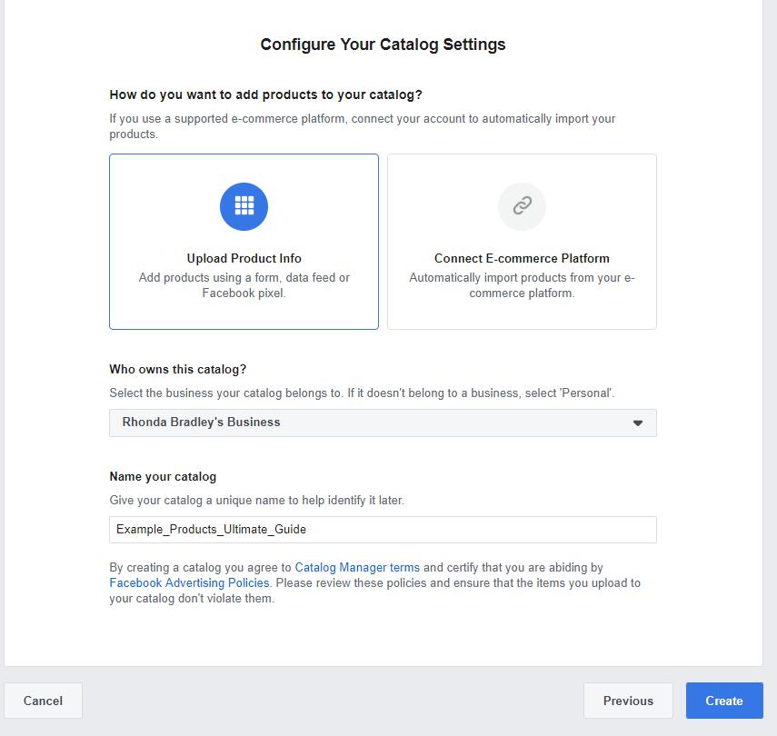 Facebook Catalog setup step three