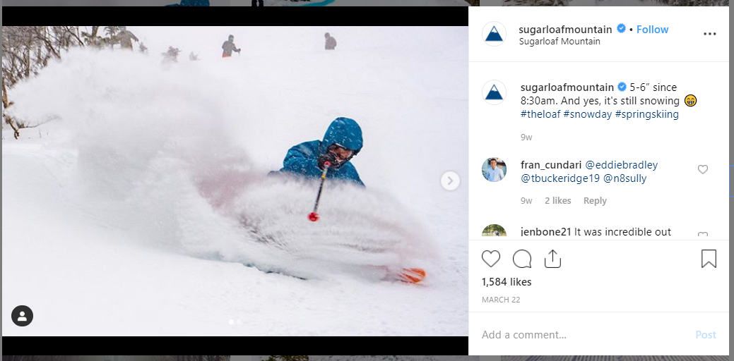 Sugarloaf hashtag examples on Instagram