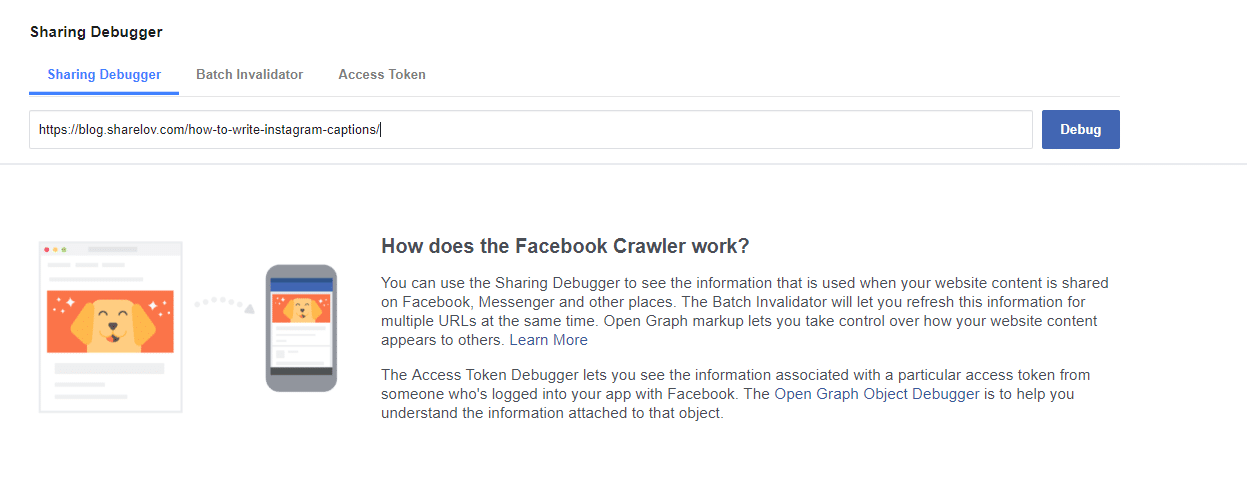 Facebook Debugger how-to step 1