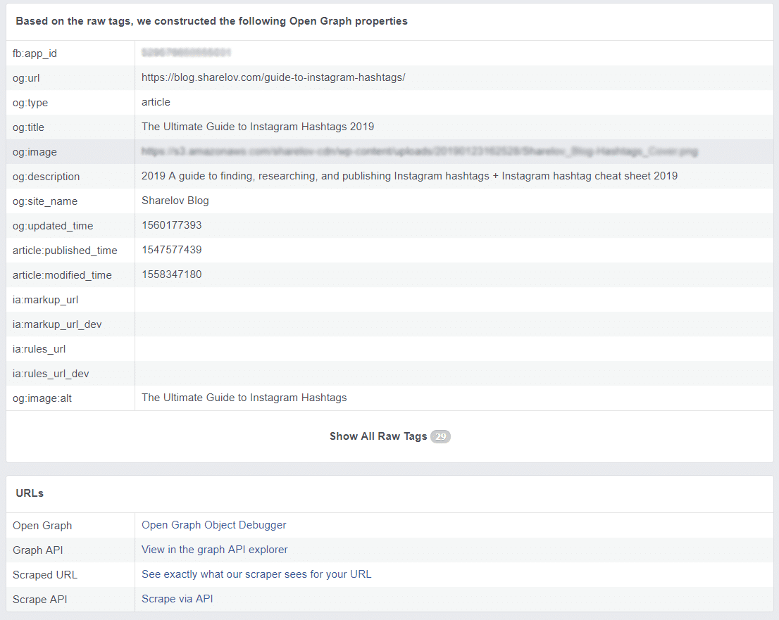 Facebook Debugger report full details