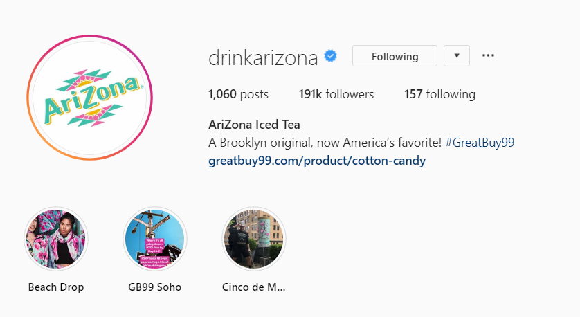 drinkarizona bio on instagram