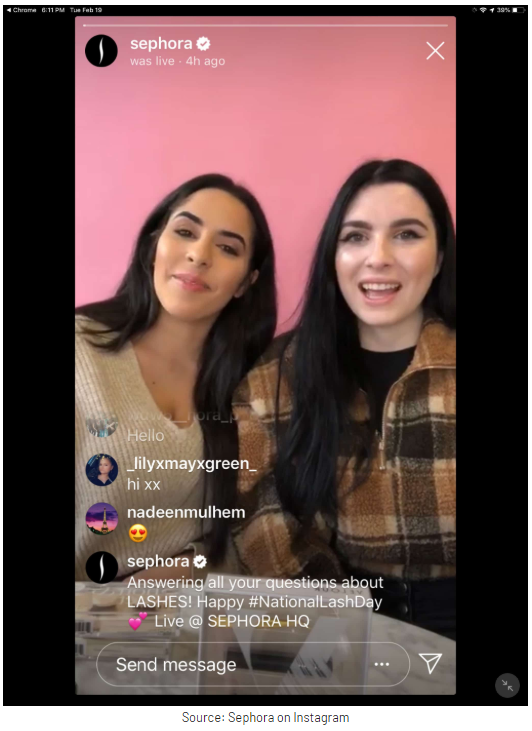sephora live on instagram example
