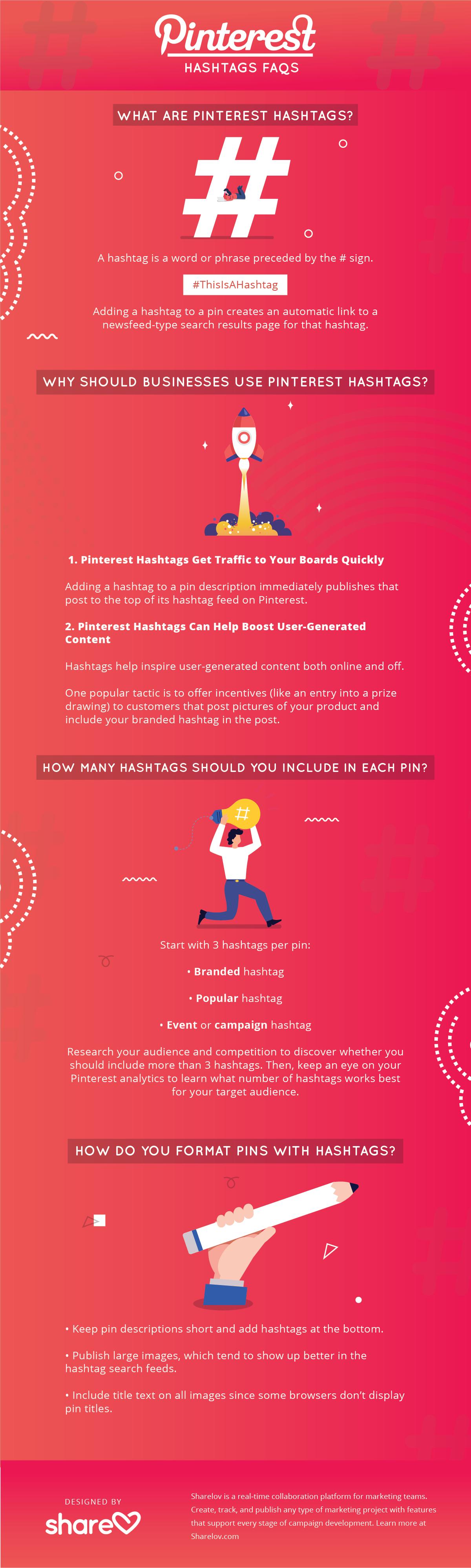 Pinterest hashtag FAQs infographic