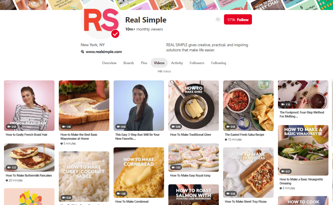 Real Simple Pinterest videos