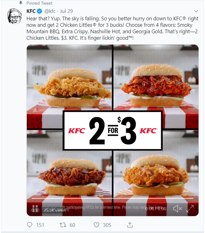 Pinned tweet example by KFC