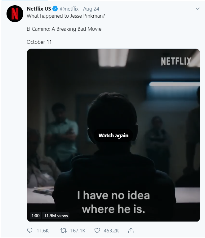 Question tweet example by Netflix