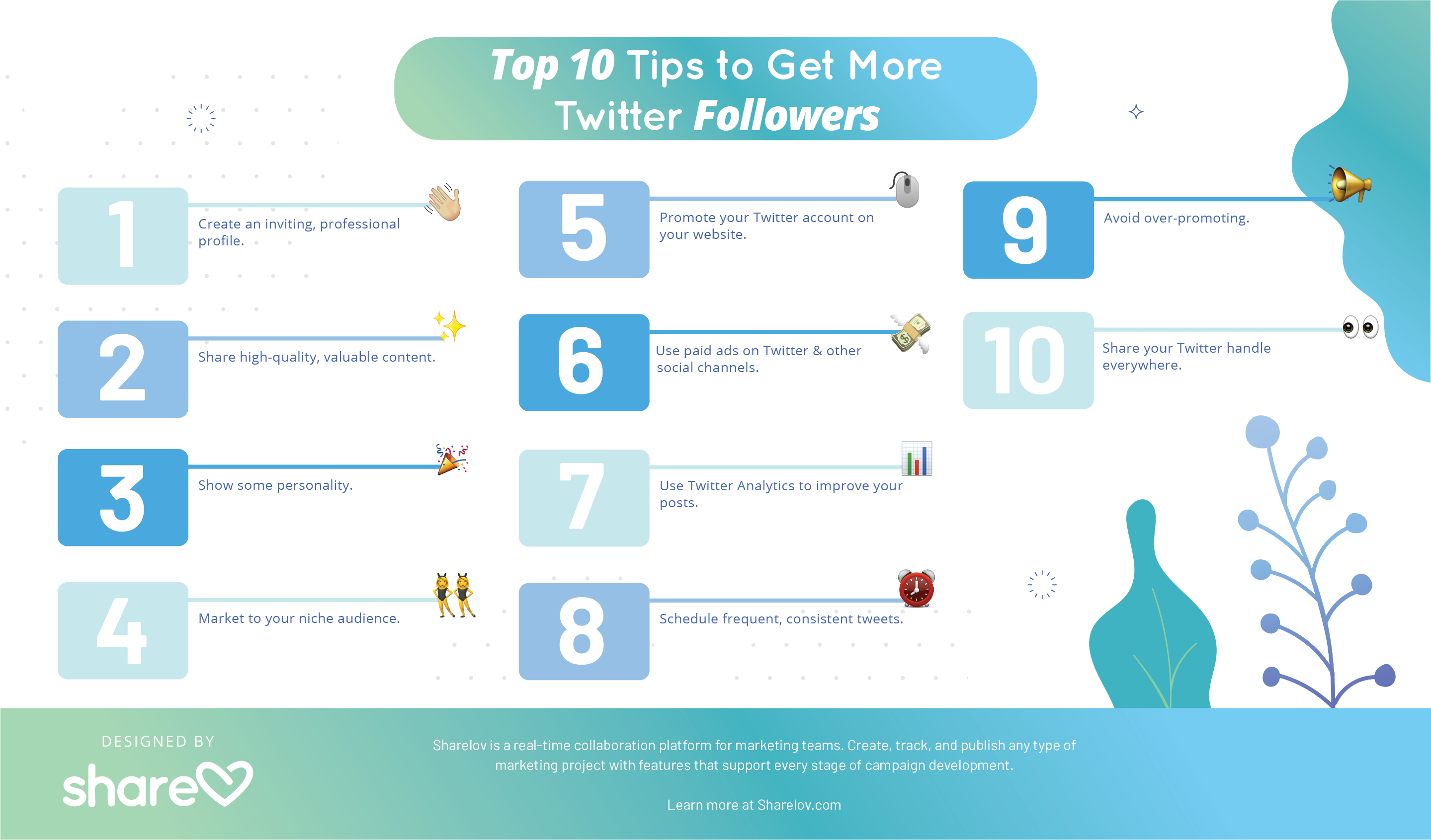 Top 10 Tips for getting more Twitter Followers infographic