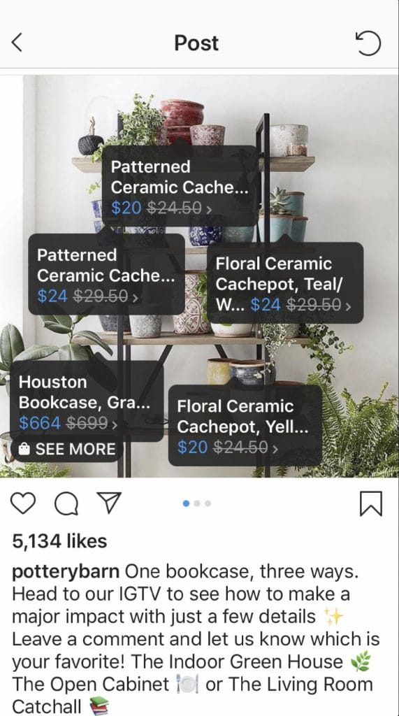 Instagram Shopping tag example 2