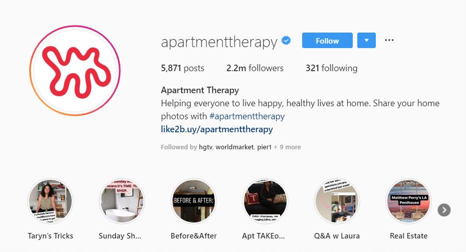 CTA in bio example apartment therapy