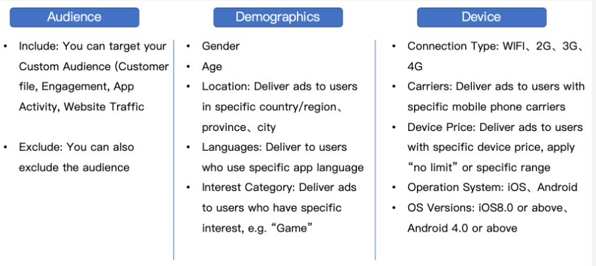 TikTok Ads defining audience options