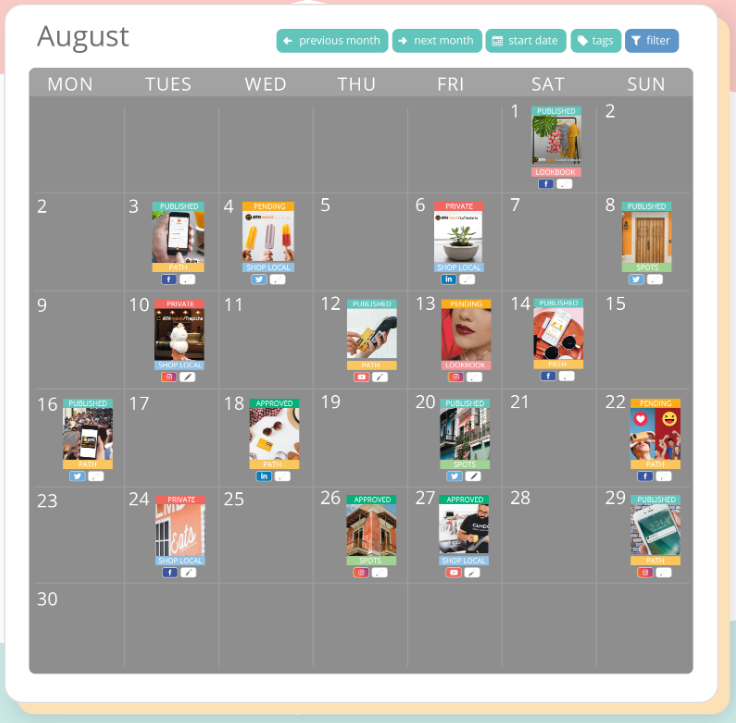 Sharelov content calendar