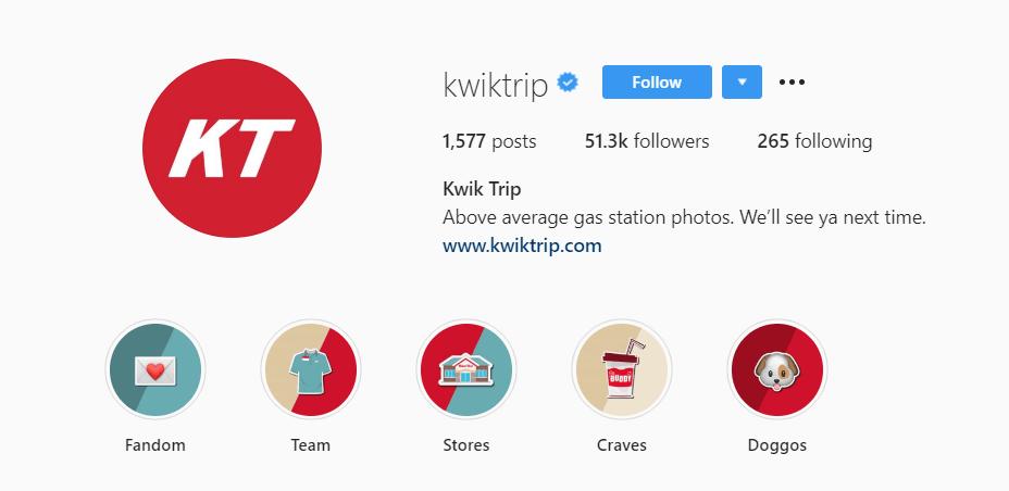 kwik trip instagram example