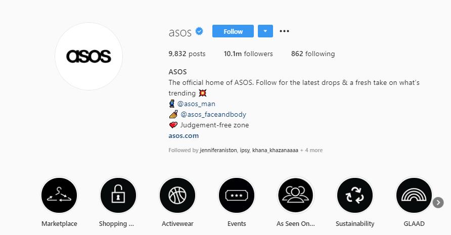asos instagram bio example