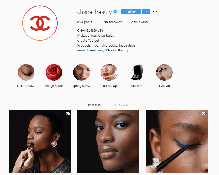 chanel beauty instagram profile example