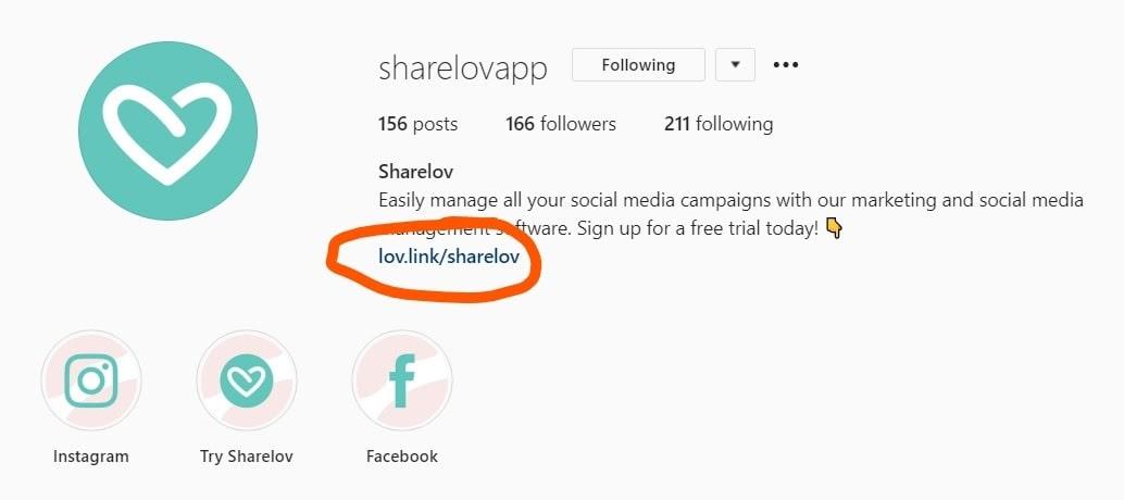 sharelov lov link bio example
