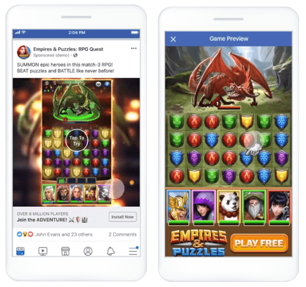 Playables ad example from Facebook for Business