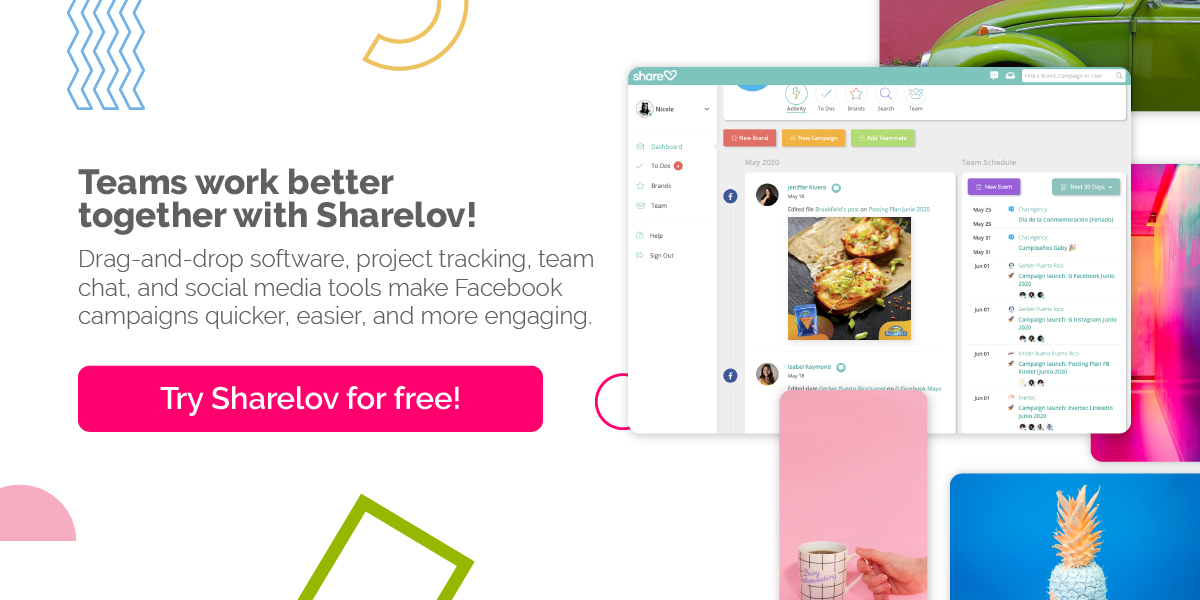 Teams work better together with Sharelov! Drag-and-drop software, project tracking, team chat, and social media tools make Facebook campaigns quicker, easier, and more engaging.