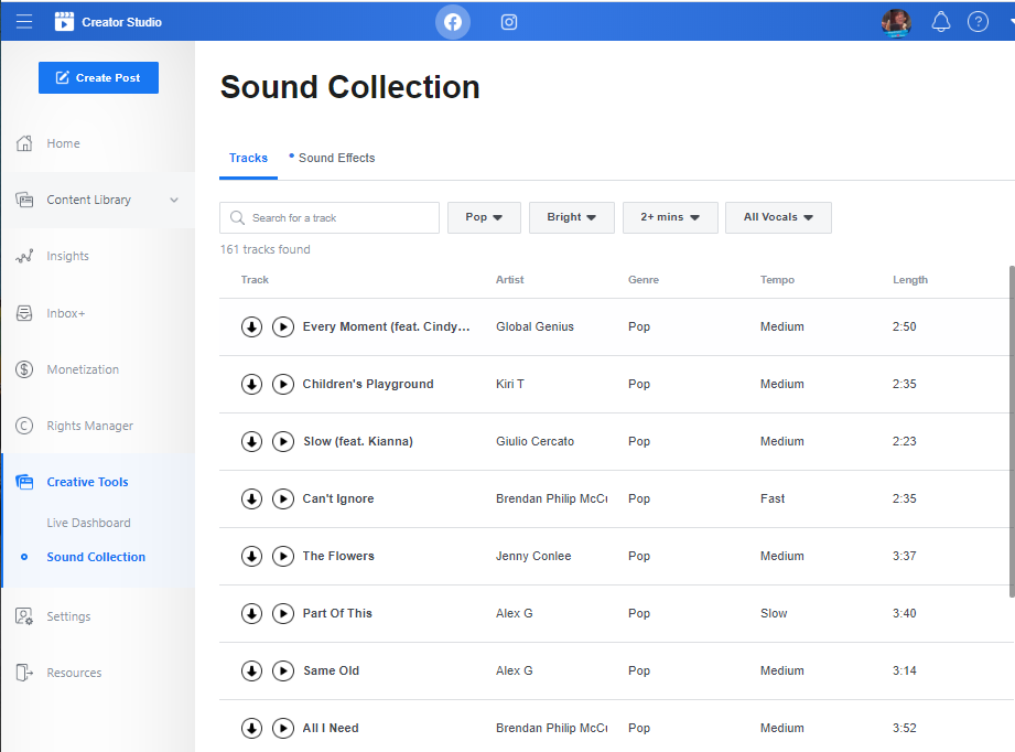 Facebook Creator Studio sound library example