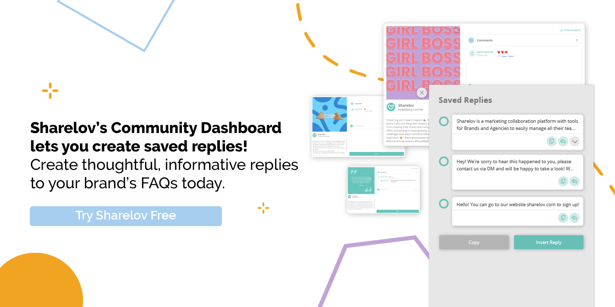 Sharelov's Community Dashboard lets you create saved replies
