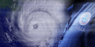 Satellite image of hurricane and superimposed man in FEMA windbreaker.