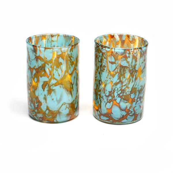 turquoise handmade hand blown glass tumbler or cup
