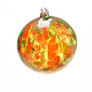 orange handmade glass ornament, asheville glass artist holiday ornament