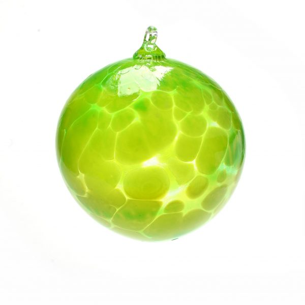 lime green ornament, holiday christmas ornament, green ball