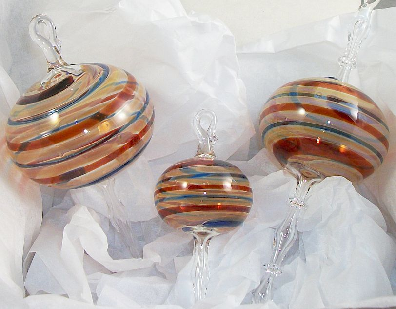 handmade glass ornament with gold blue and red, christmas shopping, holiday gifts asheville, nc crafts, blue ridge parkway crafts